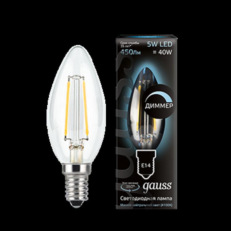 Gauss 103801205-D Лампа Gauss Filament Свеча 5W 450lm 4100К Е14 диммируемая LED