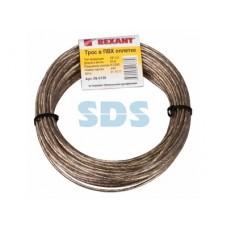 REXANT 09-5130 Трос стальной в ПВХ оплетке d=3,0 мм, прозрачный ( моток 20 м)