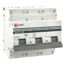 ЭКФ PROxima ВА 47-100 3P 80А (C) 10кА Выключатель автоматический