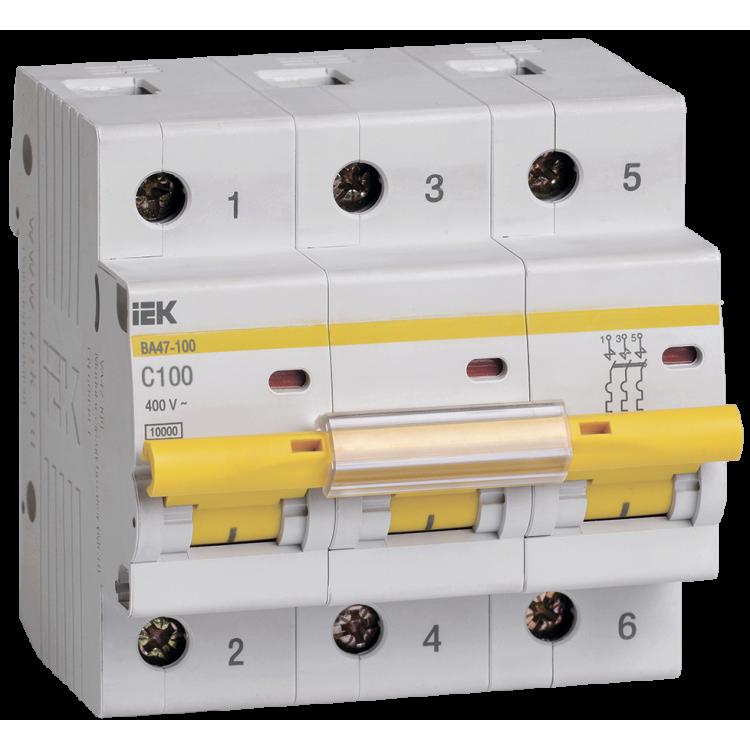 IEK ВА 47-100 3р 80А(С) Выключатель автоматический