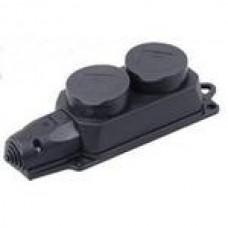 IEK PKR62-016-2-K02 Колодка 2-пост. 2P+E каучуковая с защит. крышками черн. IP44