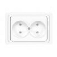 UNIVersal  В0102х Валери Розетка СП 2м  без заземления с защ. шторками  белая