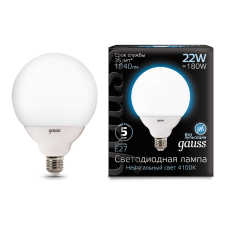Gauss 105102222 Лампа Gauss G125 22W 1900lm 4100K E27 LED